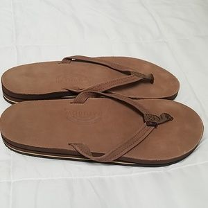 NWOT Brown leather rainbow sandals